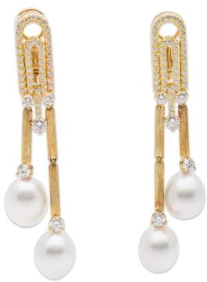 Henry Dunay 18K Yellow Gold Pearl and Diamond Earrings