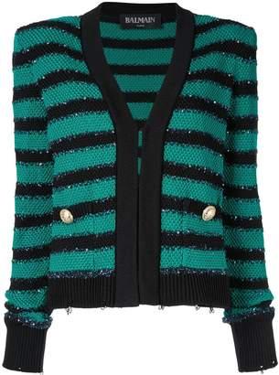 Balmain padded shoulder striped cardigan