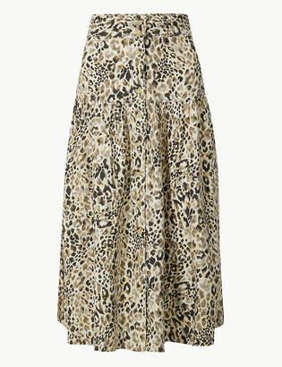 Marks and Spencer Linen Rich Animal Print A-Line Midi Skirt