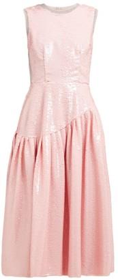 Simone Rocha Sequinned Tulle Ruffled Gathered Dress - Womens - Pink