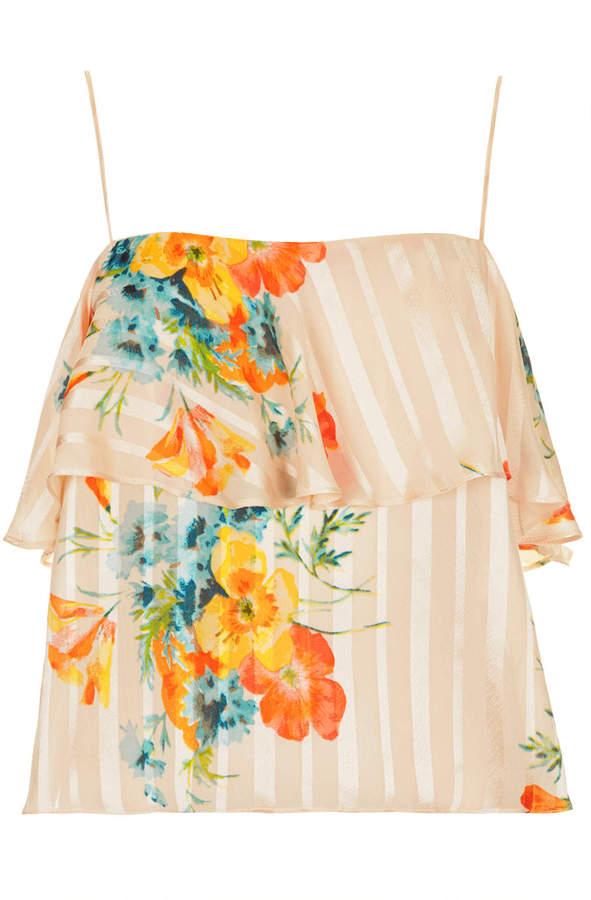 Stripe floral ruffle cami top