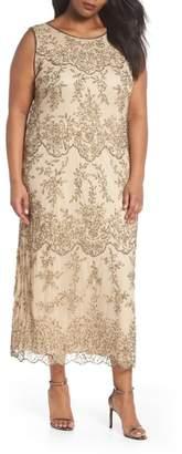 Pisarro Nights Embellished Bateau Neck Long Dress
