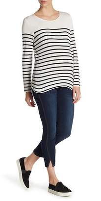 Seven7 Ankle Skinny Jeans with Twisted Seams & Slit Hem (Maternity)