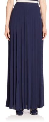Michael Kors Collection Slashed Pleated Silk Maxi Skirt