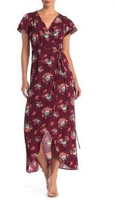 SUPERFOXX Surplice Print Short Sleeve Wrap Tie Dress