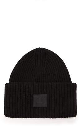 Acne Studios Pansy S Face Ribbed Knit Beanie Hat - Mens - Black