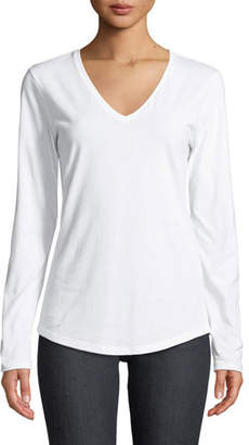 Neiman Marcus Majestic Paris for Deluxe Cotton Long-Sleeve V-Neck Tee