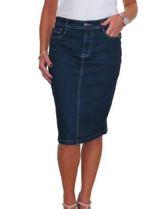 Ice Stretch Denim Jeans Skirt Below Knee 8-20