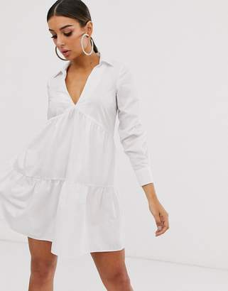 Asos Design DESIGN tiered collared cotton smock mini dress with long sleeves