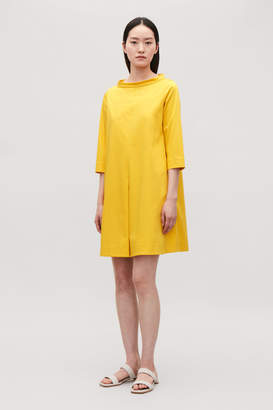 Cos STAND-UP COLLAR COTTON DRESS