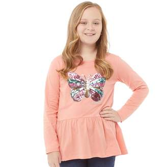 Board Angels Girls Sequin Butterfly Long Sleeved Top Coral Pink