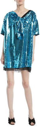 Marc Jacobs Short-Sleeve Bow-Front V-Neck Sequined Cocktail Dress