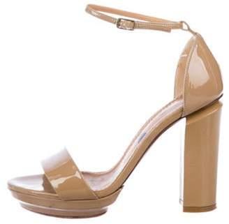 Lanvin Patent Leather Ankle Strap Sandals Tan Patent Leather Ankle Strap Sandals
