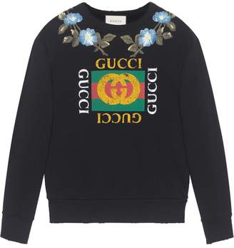 Gucci Cotton sweatshirt with logo and flowers