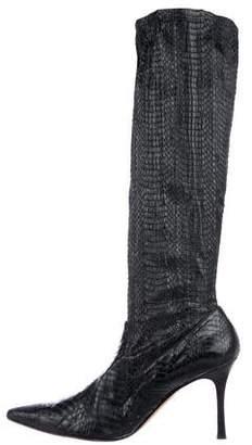 Manolo Blahnik Snakeskin Pointed-Toe Boots
