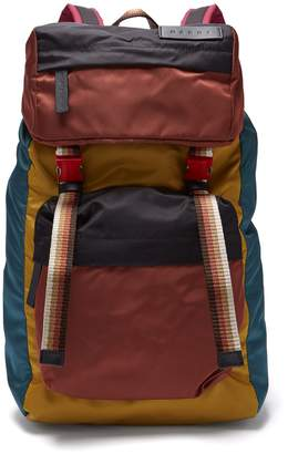 Marni Colour-block panelled shell backpack