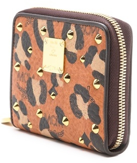 MCM Leopard Print Visetos Small Zipped Wallet
