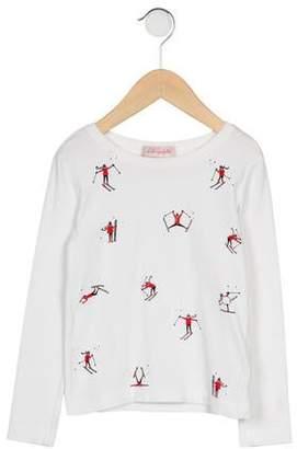 Lili Gaufrette Girls' Long Sleeve Printed Top