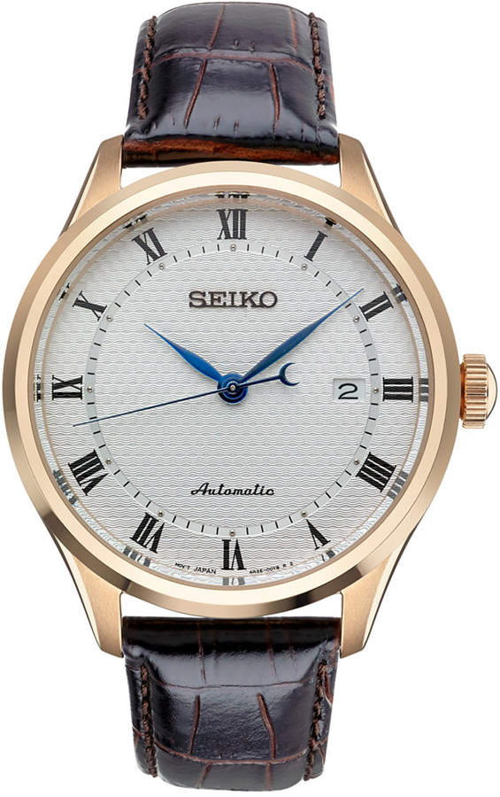 Seiko Seiko Men's Automatic Brown Leather Strap Watch 42mm SRP772