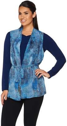 Susan Graver Printed Sheer Chiffon Vest and Liquid Knit Top Set