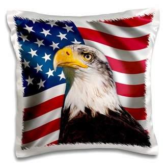 3dRose American Flag USA Bald Eagle Patriotism Patriotic Stars Stripes - Pillow Case, 16 by 16-inch