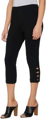 Susan Graver Weekend Stretch Cotton Spandex Capri Leggings with Cutouts