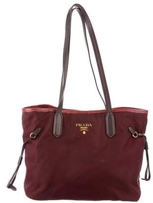 Prada Saffiano Leather-Trimmed Tessuto Tote