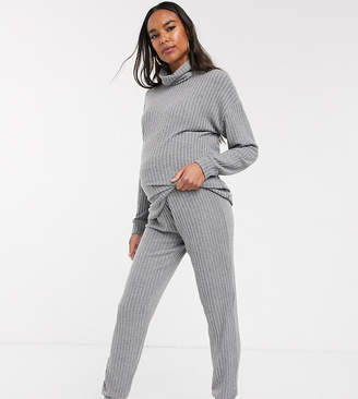 New Look Maternity ribbed trousers co-ord in grey