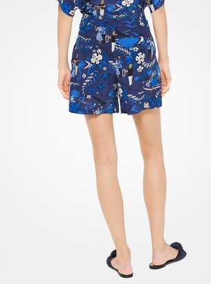 Michael Kors Tropical Welcome Print Crepe De Chine Shorts