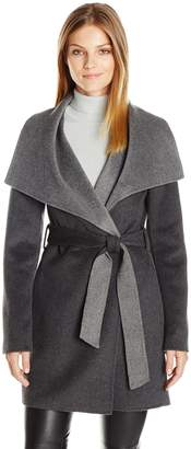 T Tahari Women's Ella Two-Tone Wool Wrap Coat with Oversized Collar