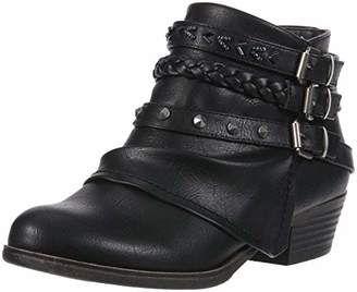 Sugar Women's Truth Fashion Braided Buckle Studded Strap Low Heel Ankle Boot