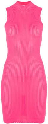 MSGM high-neck ribbed bodycon dress