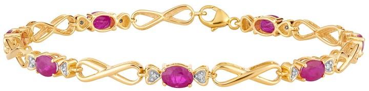 10k Gold Ruby & Diamond Accent Infinity Link Bracelet