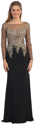 Dancing Queen Illusion Dress with Beaded Lace Applique and Sleeves $239 thestylecure.com