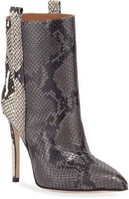 Paris Texas Snake-Embossed Leather Stiletto Booties
