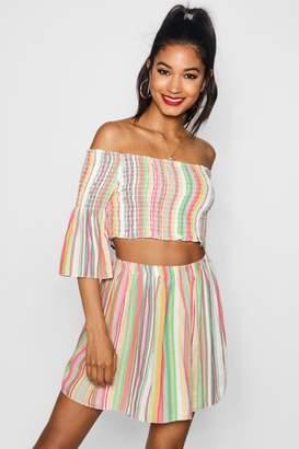 boohoo Sophie Sheered Bardot Stripe Top Skirt Co-ord