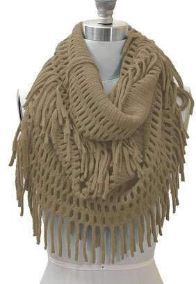 Hue HUE21 Women's Fringe Knitted Crochet Cutout Infinity Scarf Sand Color