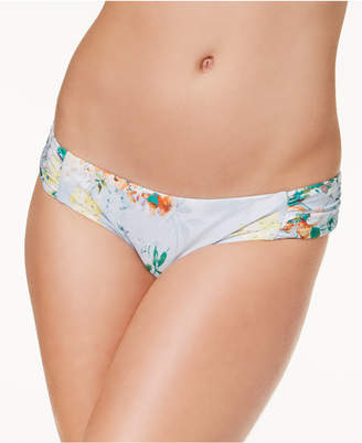 Becca Femme Printed Shirred-Side Swim Bottoms Women's Swimsuit