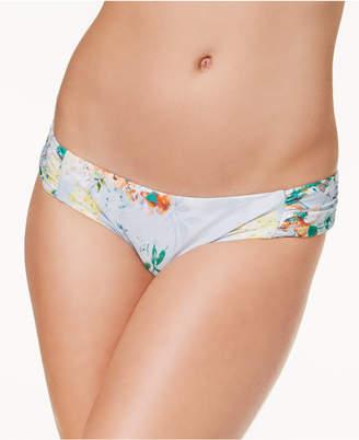 Becca Femme Printed Shirred-Side Swim Bottoms