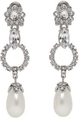 Miu Miu Silver Crystal and Pearl Clip-On Earrings