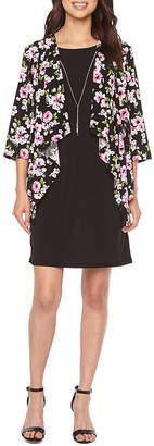 R & K Originals 3/4 Sleeve Floral Puff Print Faux Jacket Dress