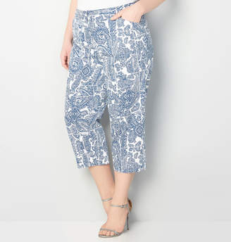 Avenue Stretch Sateen Paisley Capri