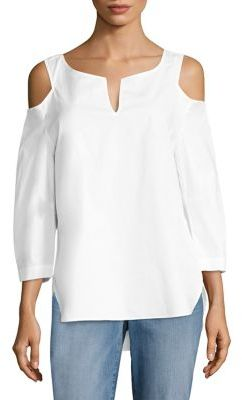 NYDJ Agnes Cold-Shoulder Top $98 thestylecure.com