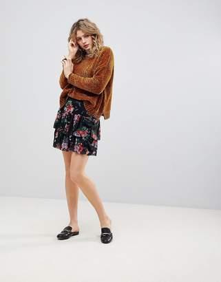 Ichi Floral Tiered Skirt