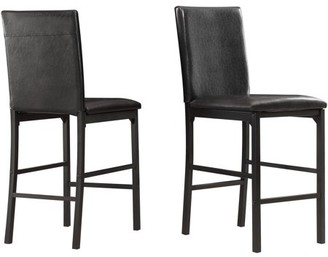 Weston Home Chelsea Lane Declan Faux Leather Metal Counter Height Chair, Set of 4, Dark Brown