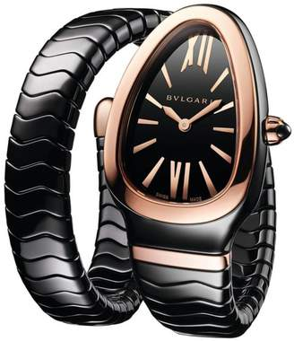 Bvlgari Serpenti Spiga Rose Gold & Black Ceramic Single Twist Watch