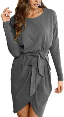 Sunfury Plus Size Wrap Dress Long Sleeve Knitted Sweater Dresses for Women Work L