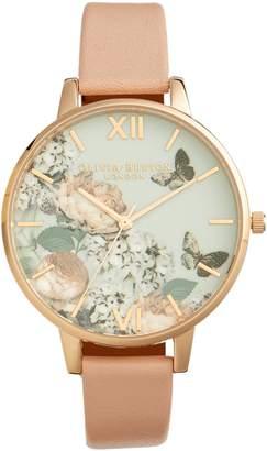 Olivia Burton Pretty Blossom Leather Strap Watch, 38mm