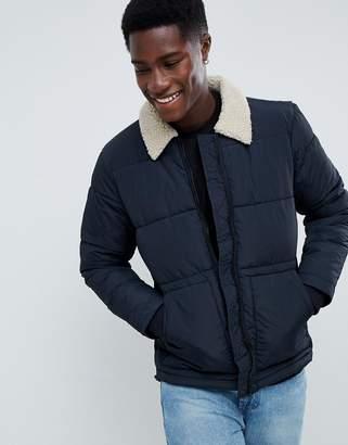 New Look puffer jacket with fleece collar in navy
