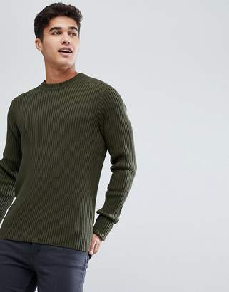 Celio Military Sweater In Chunky Rib